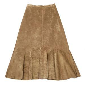 Brandon Thomas Genuine Suede Leather Midi Skirt Tan Brown A-line Women's Size 4